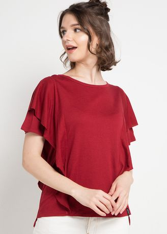 Maroon color Tops and Tunics . X8 Brenna Blouses -