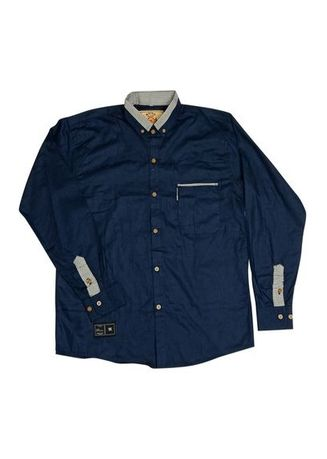 Navy color Formal Shirts . Noisd Detonation-kemeja lengan panjang-biru dongker -