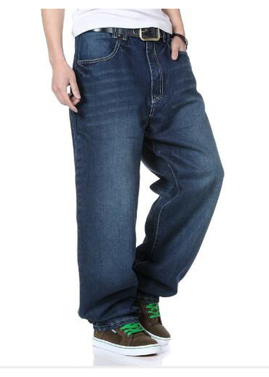 Blue color Jeans . Men's Loose Trousers Straight Jeans -