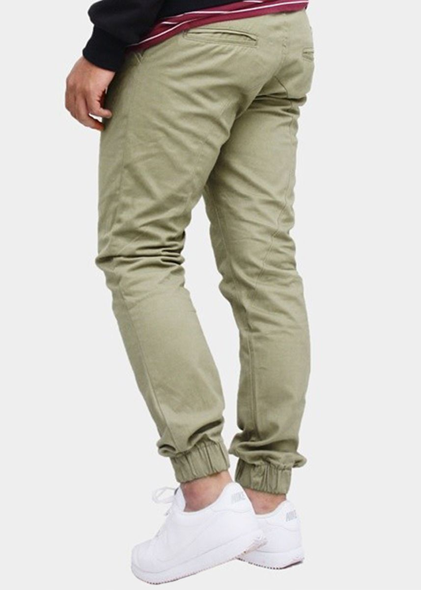 Olive color Casual Trousers and Chinos . CELANA JOGER JUST AND CO [C-JGR001] -