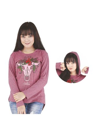 Maroon color Tops and Tunics . Kaos Kasual Wanita Catenzo  PS 524 -