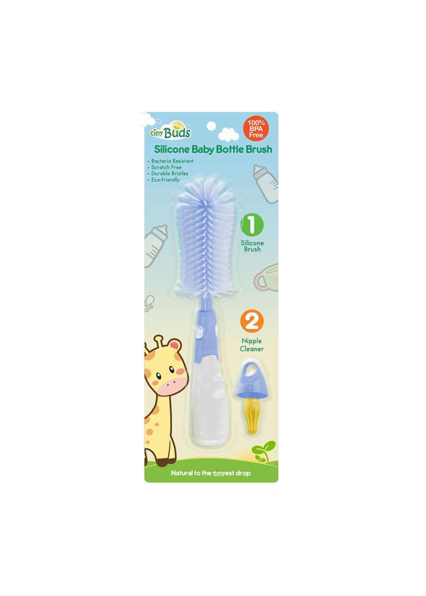 Blue color Others . Tiny Buds Non-Scratch Silicone Baby Bottle Brush -