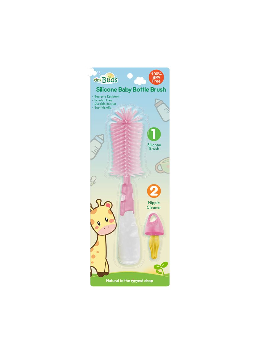 Pink color Others . Tiny Buds Non-Scratch Silicone Baby Bottle Brush -