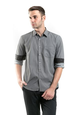 Grey color Casual Shirts . MANLY Kemeja Regular Fit Thorne  -