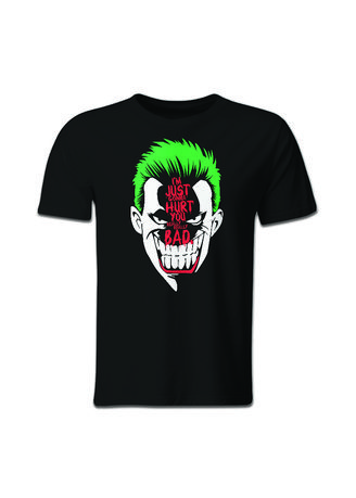 Black color T-Shirts and Polos . Guitar Apparel Suicide Squad Joker Poker Face Printed T-Shirt -