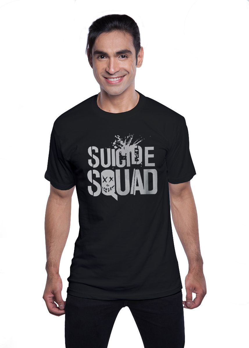 Black color T-Shirts and Polos . Guitar Apparel Suicide Squad Title Logo Printed T-Shirt -