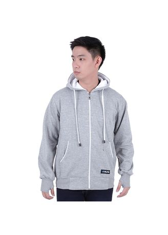 Light Grey color Jackets . ELFS Jaket Hoodie With Earphone Music Hole -