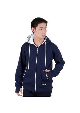 Navy color Jackets . ELFS Jaket Hoodie With Earphone Music Hole -