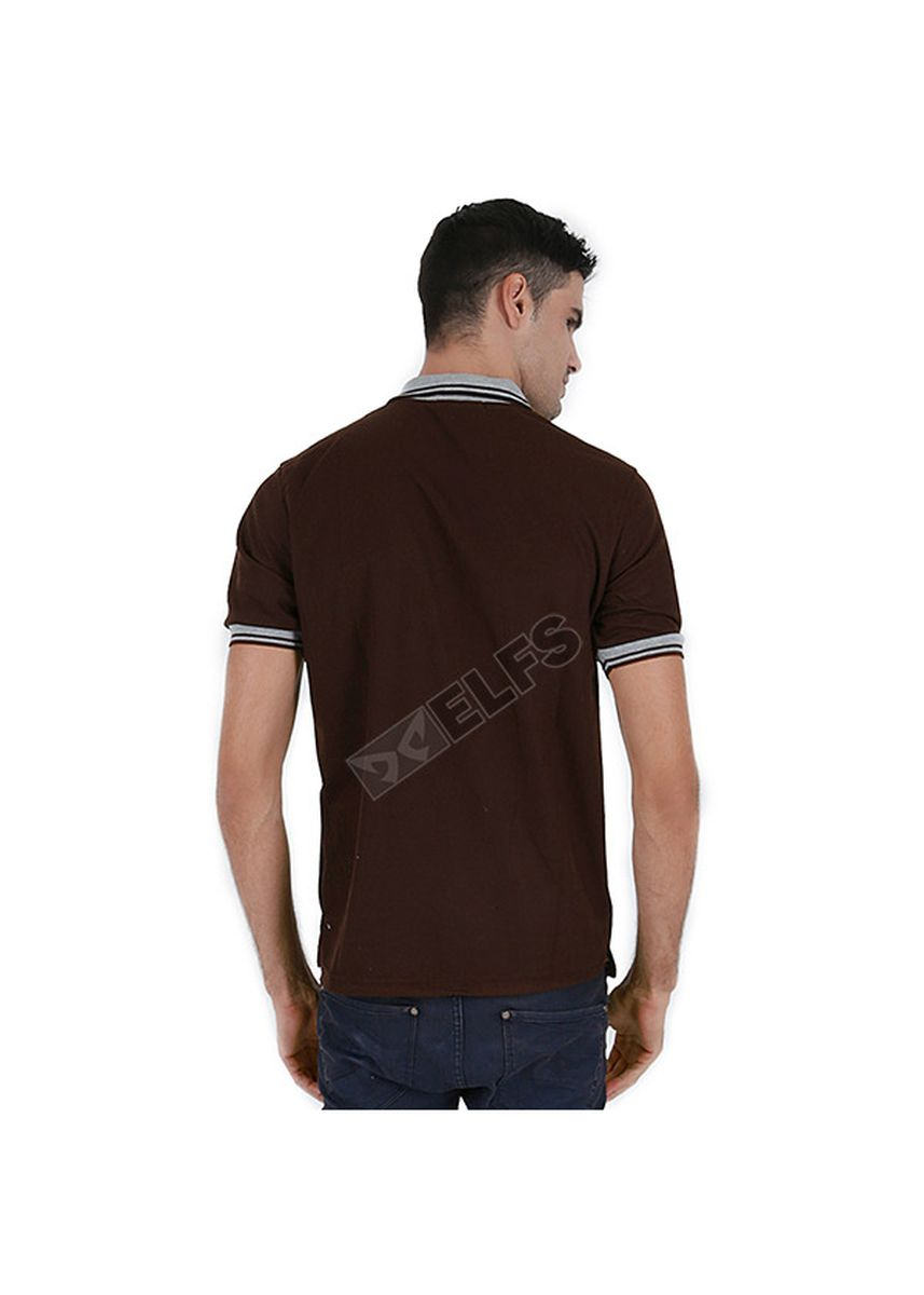 Brown color T-Shirts and Polos . ELFS Poloshirt Lakos Kerah Abu Muda -