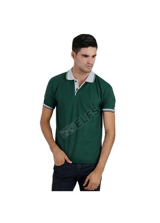 Green color T-Shirts and Polos . ELFS Poloshirt Lakos Kerah Abu Muda -