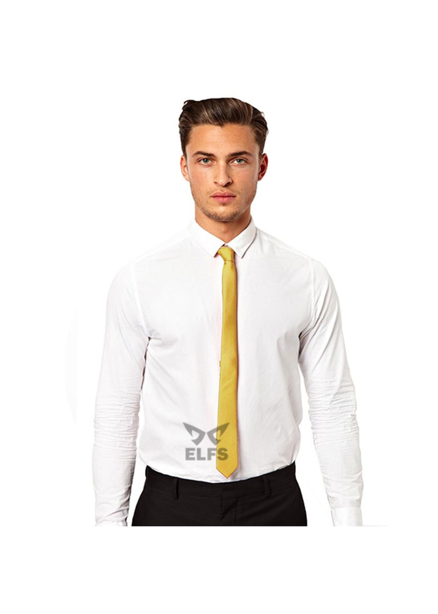 Gold color Ties . ELFS Dasi Slim Formal Casual Polos -