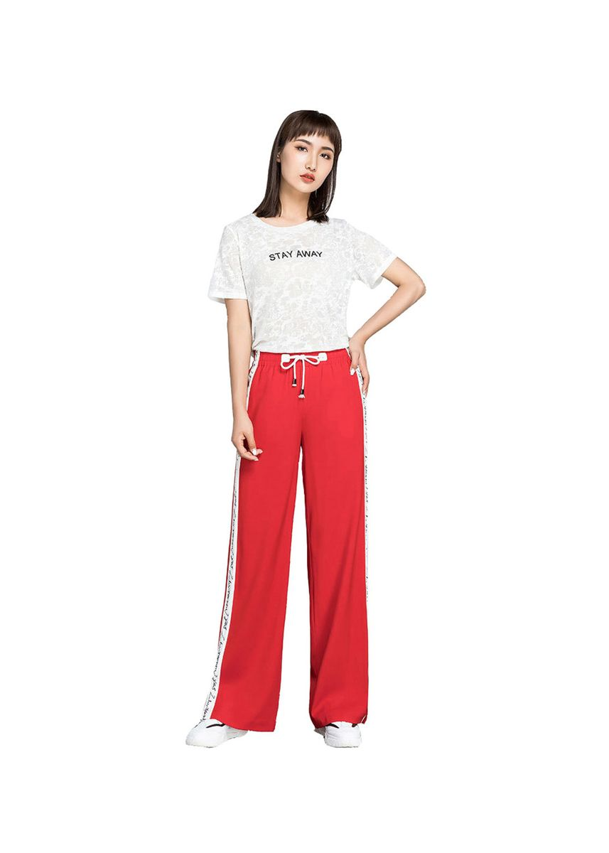 Red color Trousers . Drop-on slit casual ice silk wide-leg pants -
