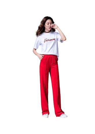 Red color Trousers . Loose Invisible Zipper Straight Leg Pants -