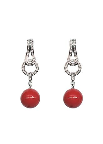 Red color  . The Fairy Earrings -