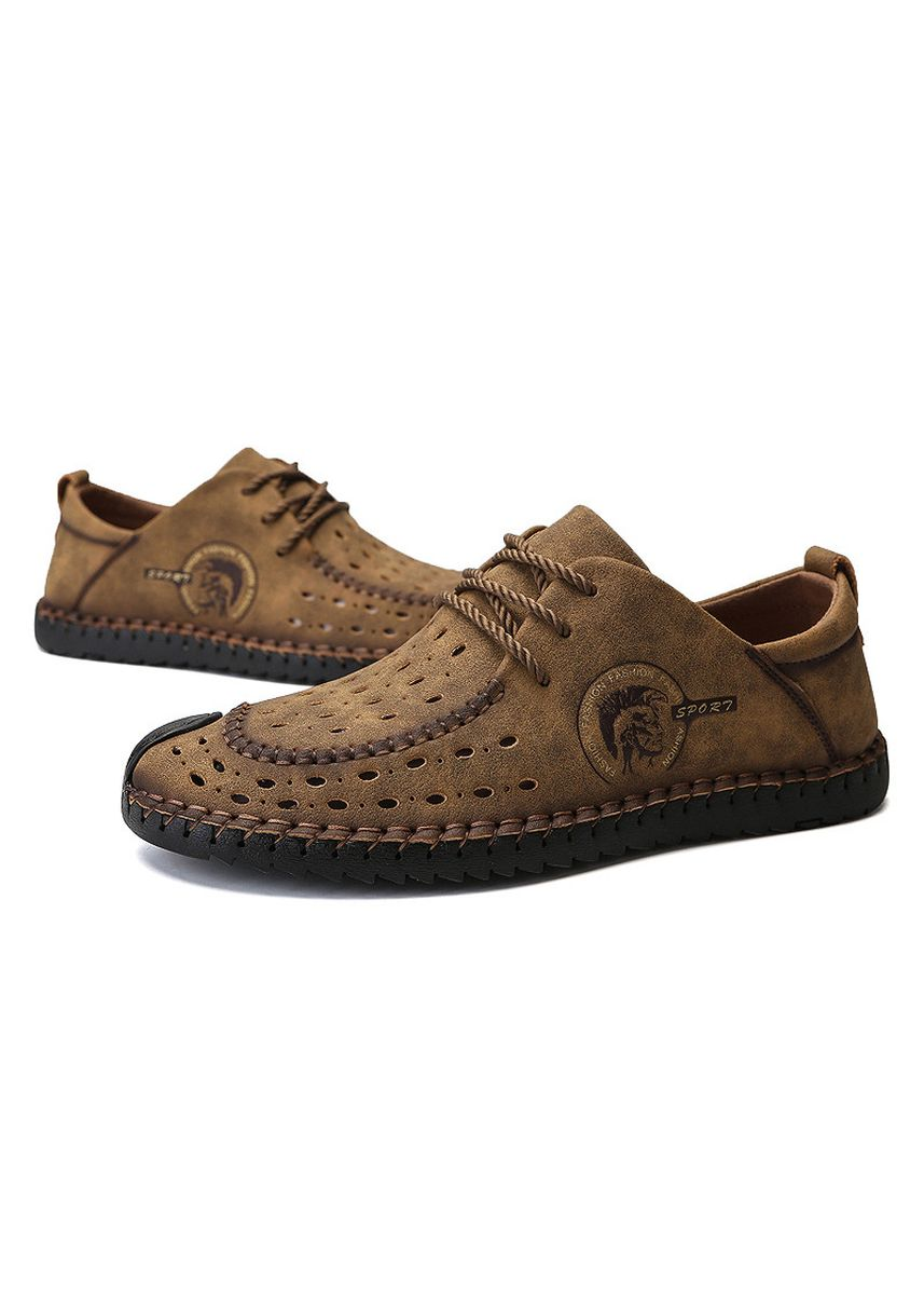 Khaki color Casual Shoes . Men Hollow-Out Round Toe Casual Breathable Flats -
