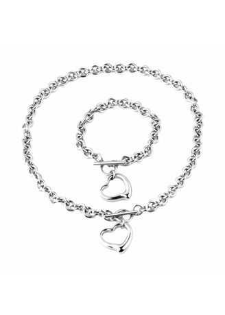 Silver color  . Bewell Rolo Chain Toggle Jewelry Set -
