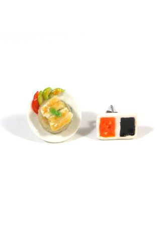 White color  . Chicken Rice Ear Studs -