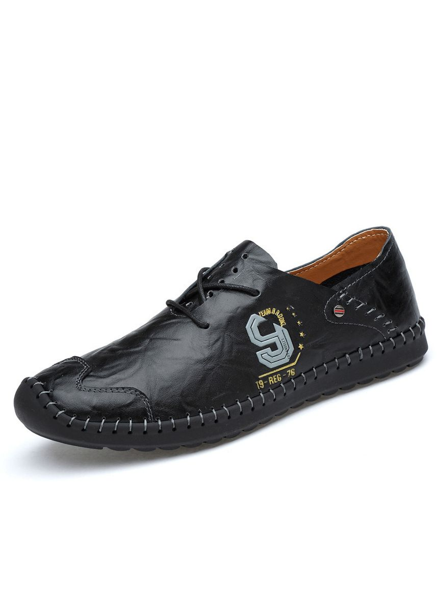 Black color Casual Shoes . Sewing Men's Casual Trend Handmade Hollow Peas Shoes -