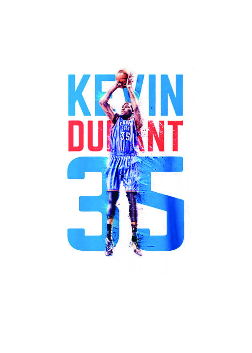 White color T-Shirts and Polos . Guitar Apparel NBA Kevin Durant Printed T-Shirt -
