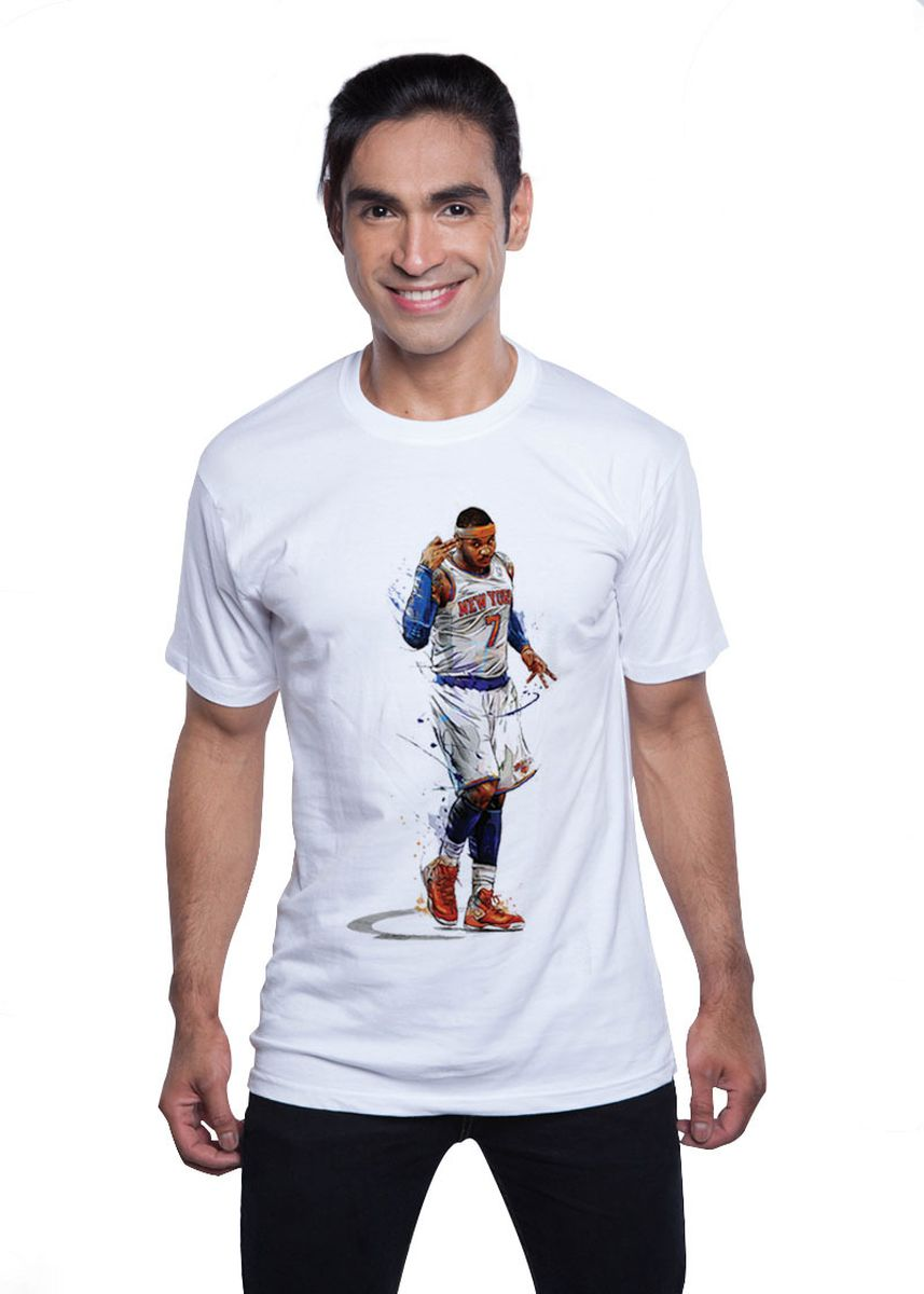 White color T-Shirts and Polos . Guitar Apparel NBA Carmelo Anthony Printed T-Shirt -