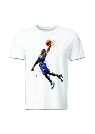 White color T-Shirts and Polos . Guitar Apparel NBA Russell Westbrook Printed T-Shirt -