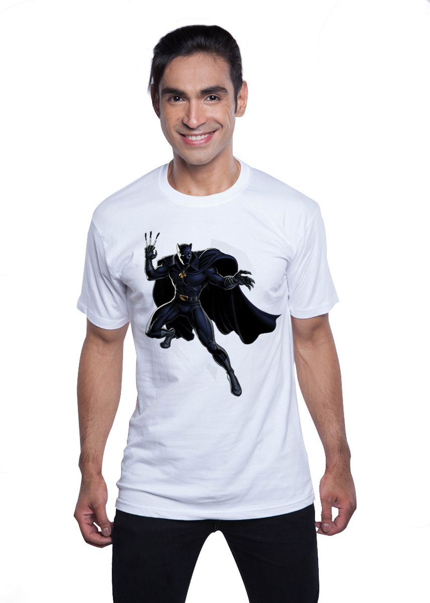 White color T-Shirts and Polos . Guitar Apparel Civil War Black Panther Printed T-Shirt -