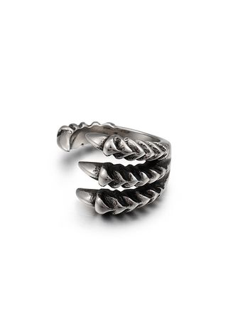 เงิน color แหวน . Men's Domineering Open Sharp Claw Tail Ring -