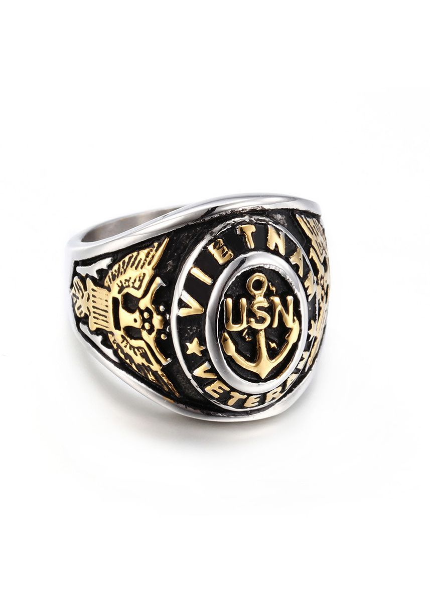 Gold color Rings . Vintage Gold Golden Anchor Men's Ring -