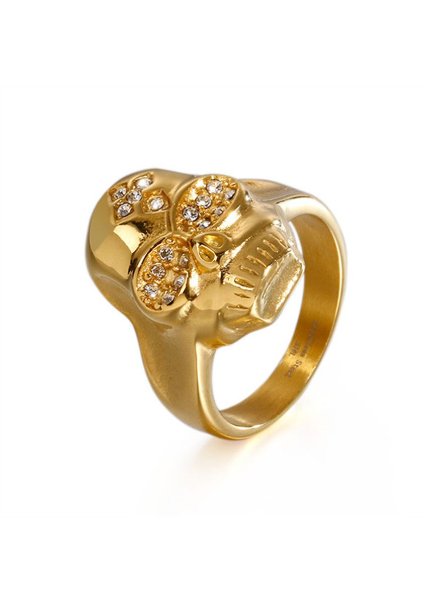 Gold color Rings . Individual Crystal-studded Men's Trend Ring -