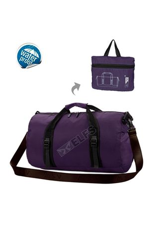 Purple color Duffle Bags . ELFS Tas Selempang Gym Lipat Duffle Bag Foldable Water Ressistant Travel Bag ZD05 -