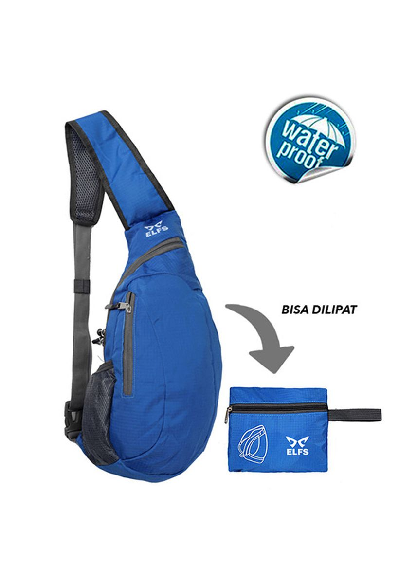 Blue color Messenger Bags . ELFS Tas Selempang Water Resistant Lipat Foldable Sling Bag 1AX802 -