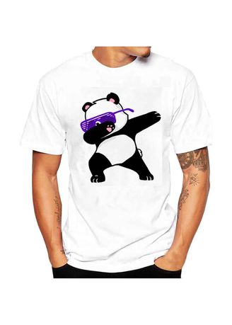 White color T-Shirts and Polos .  Men Summer Casual T-shirt Panda Print White Short Sleeve  -