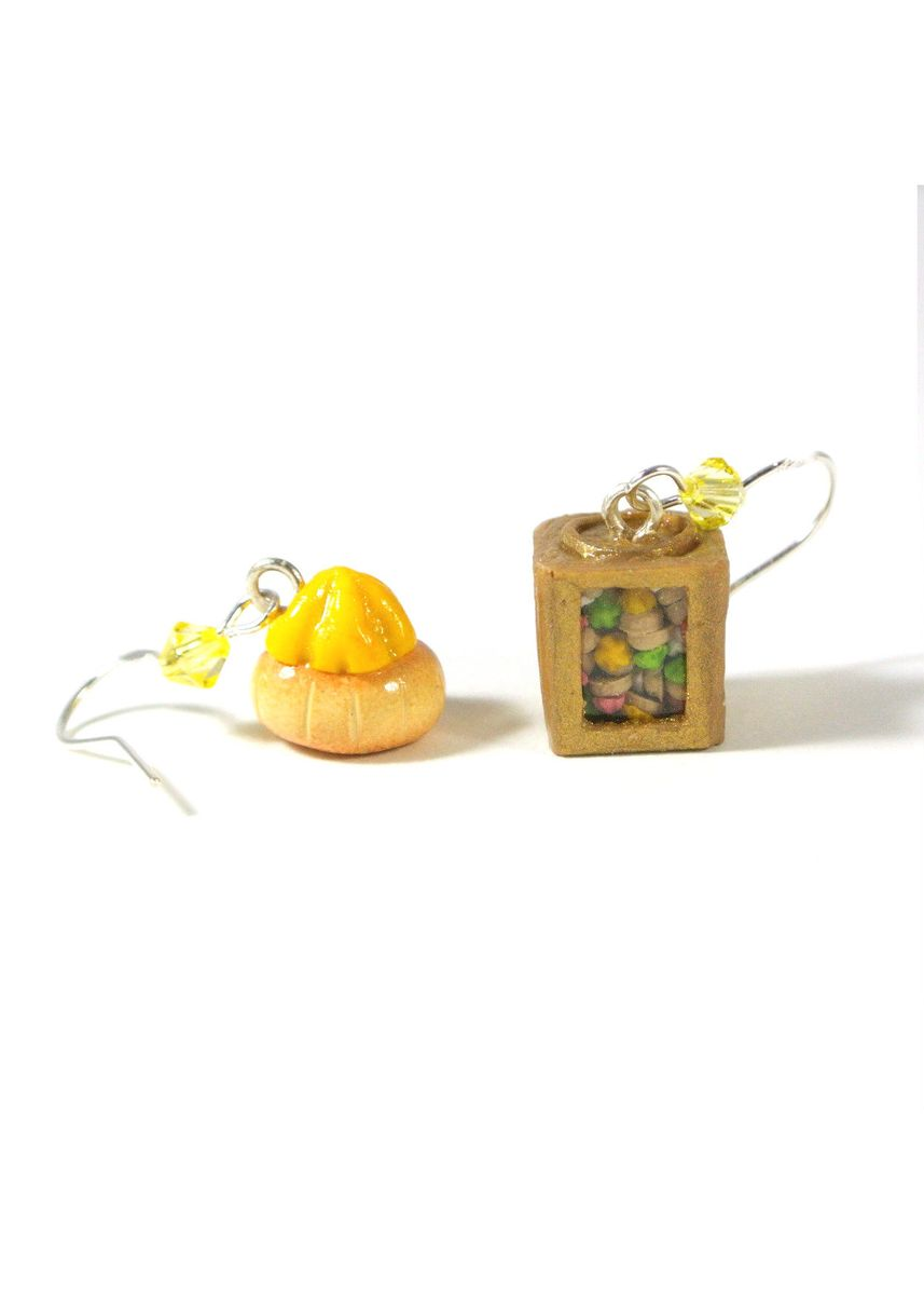 Yellow color  . Traditional Gem Biscuit Tin Earrings -