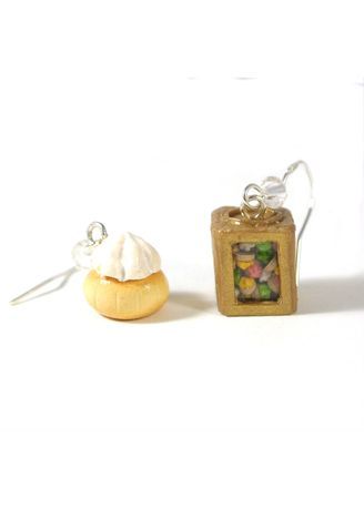 White color  . Traditional Gem Biscuit Tin Earrings -