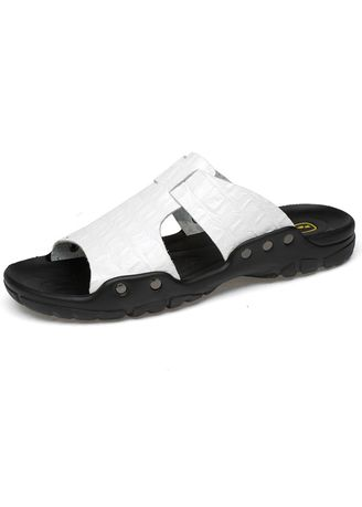 White color Sandals and Slippers . Men's Rubber Material Casual Sandals -