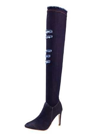 Navy color Boots . Women's Thigh High Over The Knee Denim Stiletto Heel Boots -