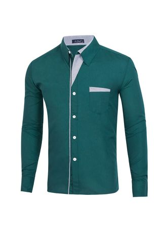 Olive color Casual Shirts . Striped Men's Stitching Shirt Figure -