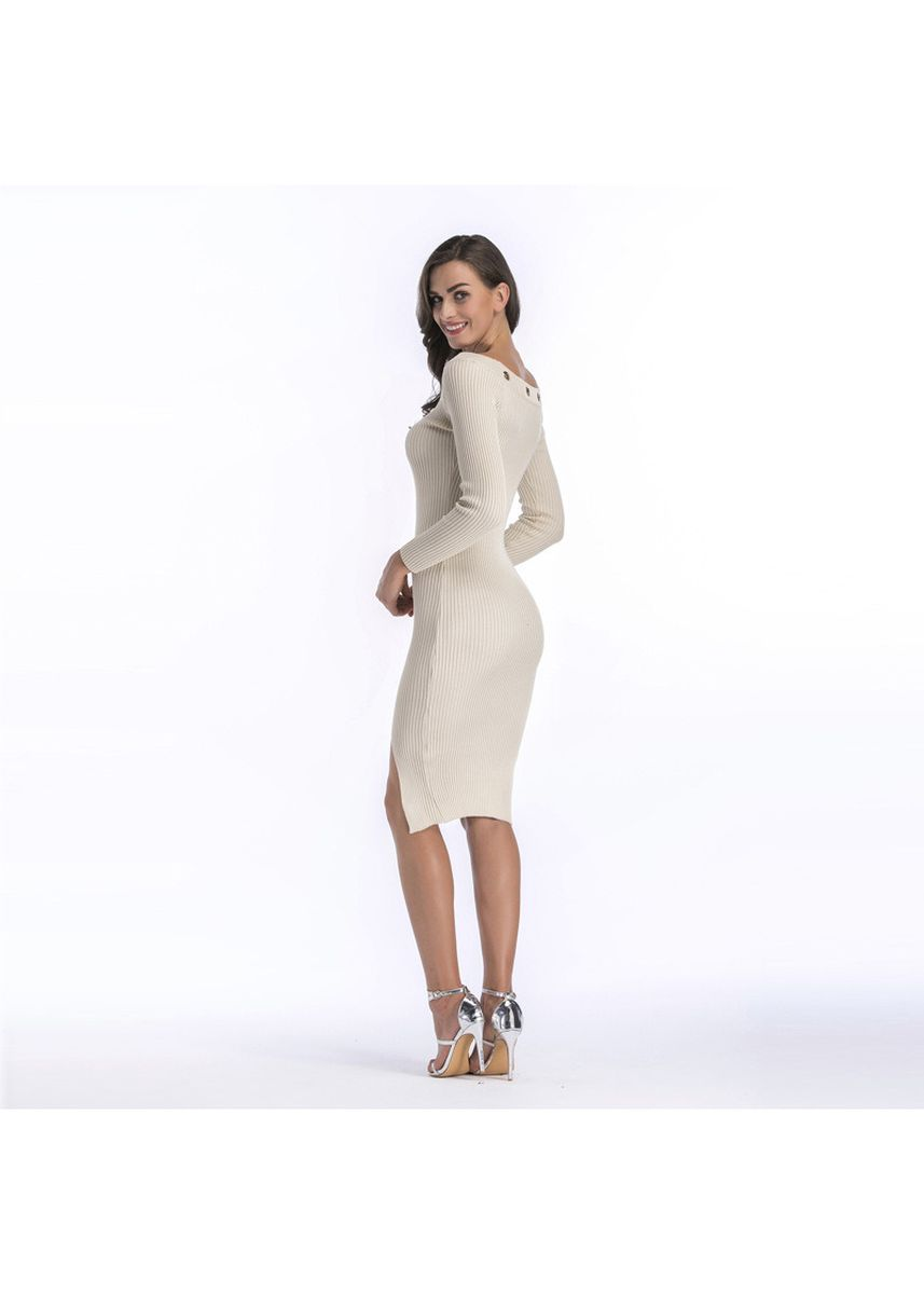 White color Dresses . Women Sweater Knitted Hem Slit Package Hip Skirt Dress -