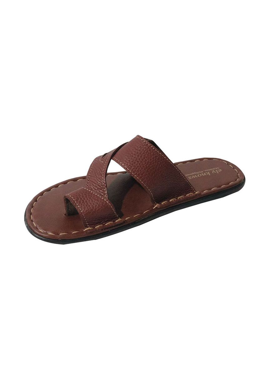 Brown color Sandals and Slippers . Ely-Knows Men's Slippers -