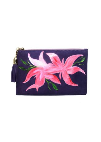 Violet color Wallets and Clutches . Kal&Bags Genuine Leather Painted Pouch By D. Bagares -