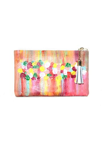 White color Wallets and Clutches . Kal&Bags Genuine Leather Painted Pouch By D. Bagares -