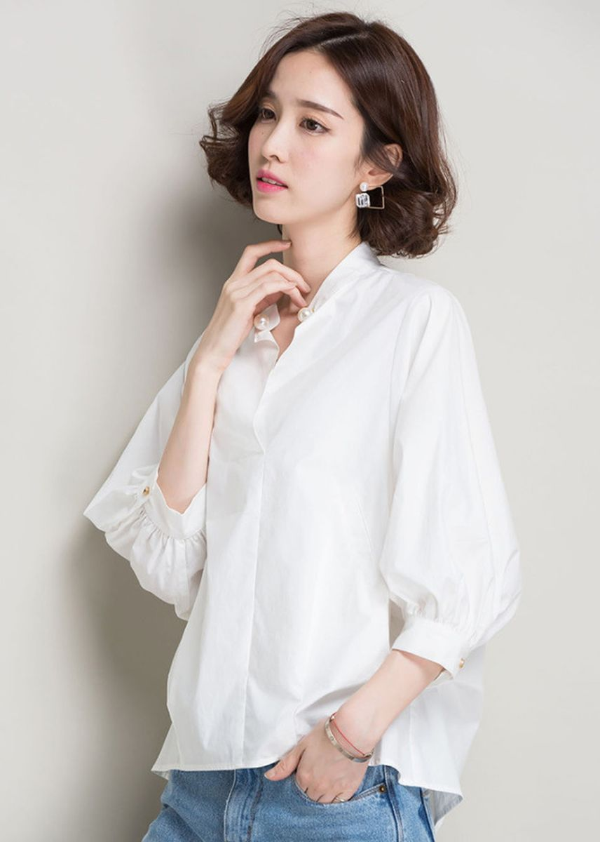 White color Tops and Tunics . Women White Shirts Casual Tops -