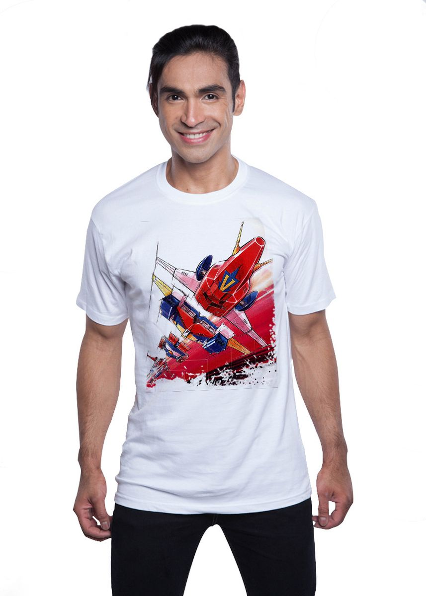 White color T-Shirts and Polos . Guitar Apparel Combattler V Printed T-Shirt -