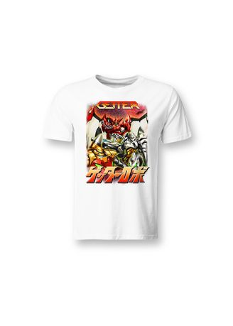 White color T-Shirts and Polos . Guitar Apparel Getter Robo Dino Getter Series Round Neck T-shirt -