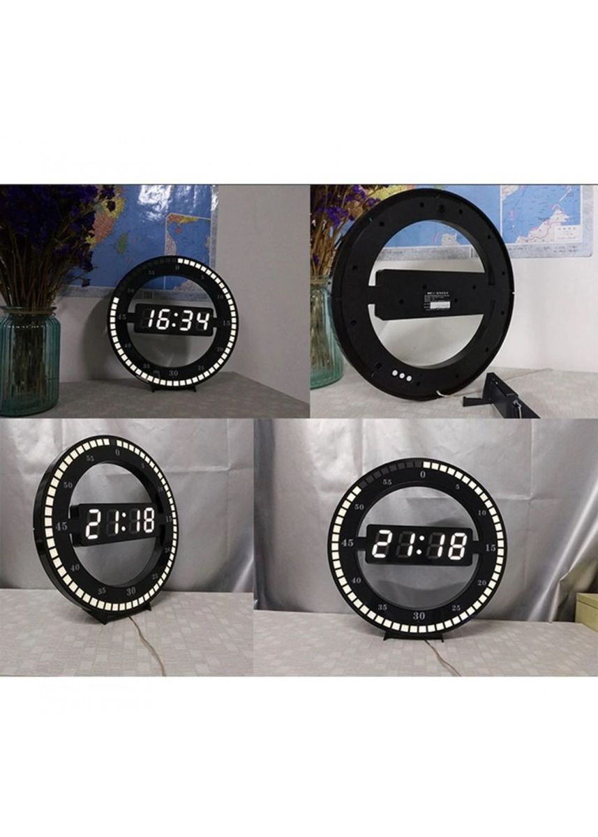 Black color Home Decor . Creative Mute Hanging Wall Clock Digital LED Display - HC-012 -