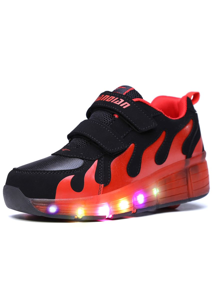แดง color รองเท้า . LED flash light single wheel crazy shoes roller skates -