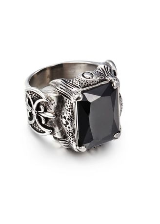 ดำ color แหวน . Domineering Retro Inlaid Gemstone Men's Ring -
