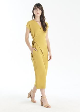 Yellow color Jump Suits . Wrap Solid Jumpsuit -