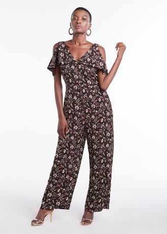 Jump Suits . Waterfall V Neck Floral Printed Jumpsuit -