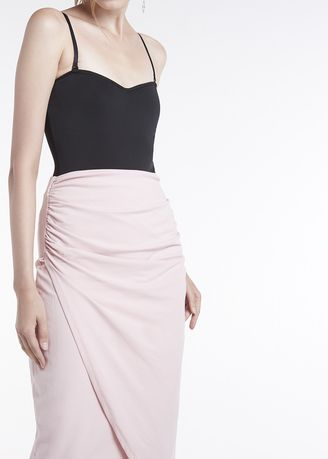 Pink color Skirts . Jersey Wrap Maxi Skirt -